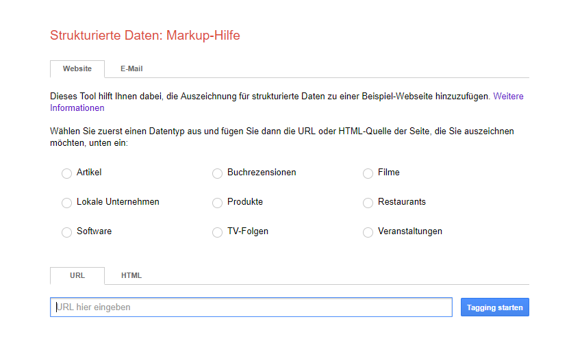 Screen des Google Markup Hilfe Interface